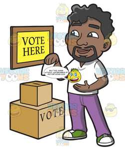A Black Man Dropping His Ballot In The Box
