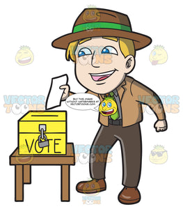 A Happy Man Dropping His Ballot In The Ballot Box
