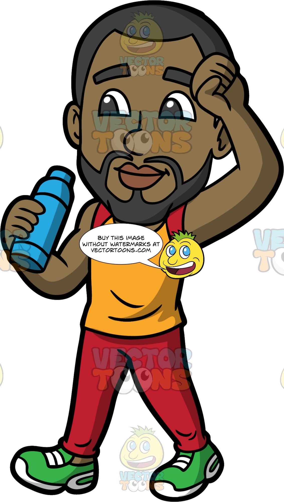 Calvin Walking For Exercise. A black man with a beard wearing red track pants, an orange with red tank top, and green running shoes, holding a blue water bottle while going on a walk