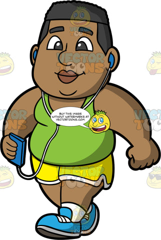 James Listening To Music While Walking. A chubby black man wearing yellow shorts, a green tank top, and blue running shoes, holding a cell phone in his hand and listening to music through headphones while on a walk