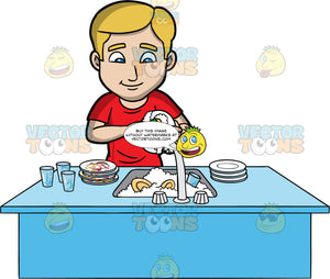 A Blonde Man Washing Some Dirty Dishes. A man with blonde hair and blue eyes, wearing a red shirt, stands behind a kitchen sink filled with soapy water and dishes, and uses a sponge to clean them