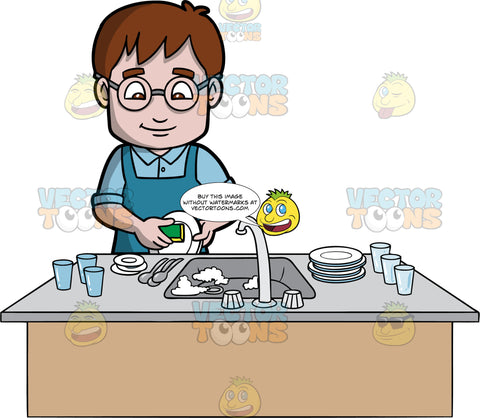 A Man Doing The Dishes After Dinner. A man with brown hair and eyes, wearing a blue shirt, blue apron, and eyeglasses, washing a stack of dirty plates, glasses and cutlery in the sink