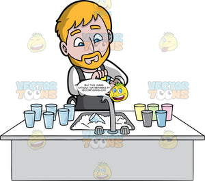 A Bearded Man Washing Glasses. A man with blonde hair and beard, wearing a white shirt and a gray apron, washing a stack of dirty glasses in the kitchen sink