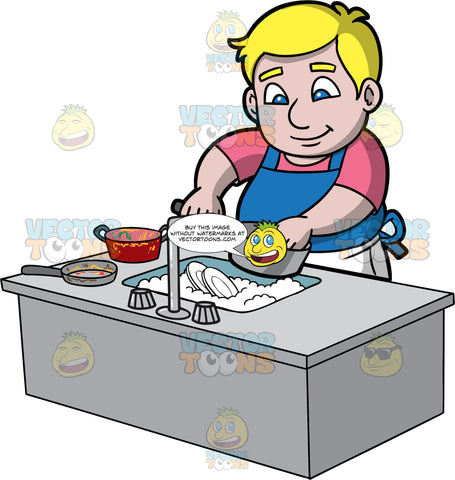 A Chubby Man Washing Pots And Pans. A chubby man with blonde hair and blue eyes, wearing white pants, a pink shirt, and a blue apron, stands behind a kitchen sink filled with soapy water and plates, and washes some dirty pots and pans