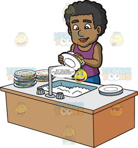 A Black Man Washing A Stack Of Dirty Dishes. A black man wearing blue jeans and a purple tank top, standing behind a kitchen sink filled with soapy water, washing a stack of dirty plates