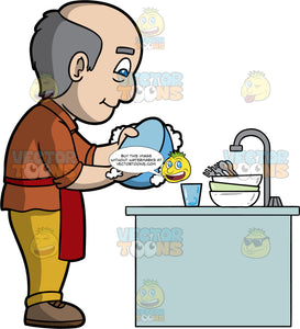 A Balding Man Doing The Dishes. A man with a balding head and blue eyes, wearing yellow pants, a brown shirt, brown shoes and a red apron, stands at the kitchen sink washing a blue bowl with soap and water