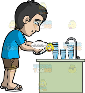 A Dad Washes The Dishes After Dinner. A man with black hair, wearing brown shorts, a blue t-shirt, and white flip flops, standing by the kitchen sink washing a dirty plate and glasses