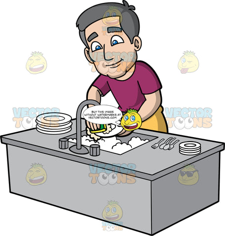Bob Using A Sponge To Wash Dirty Dishes. A mature man with gray hair, wearing a wine coloured shirt, and mustard yellow pants, washing dishes in a sink filled with soapy water