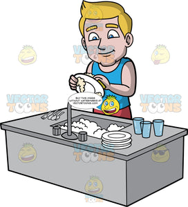 Matthew Washing Dishes. A man with dark blonde hair, wearing a blue tank top, standing and washing the a stack of dirty dishes in a sink filled with soapy water