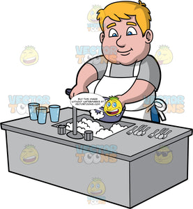Sam Washing A Dirty Saucepan. A chubby man wearing a gray t-shirt and a white apron, standing behind a kitchen sink filled with soapy water, and washing a pot with a dish sponge