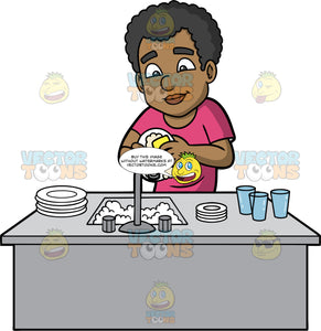 Jimmy Washing A Dirty Plate. A black man wearing a pink shirt, standing behind a kitchen sink filled with soapy water, and washing a dirty plate with a dish sponge