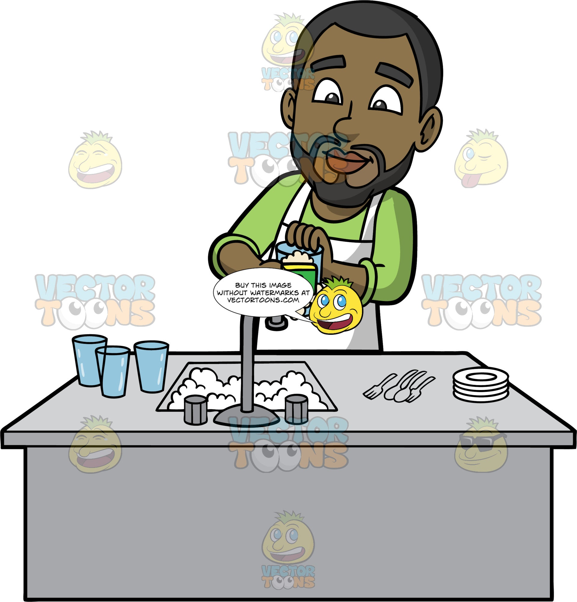 Calvin Washing The Dishes After Dinner. A black man with a beard, wearing a long sleeve green shirt, and a white apron, standing behind a kitchen sink filled with soapy water, and washing a glass using a sponge