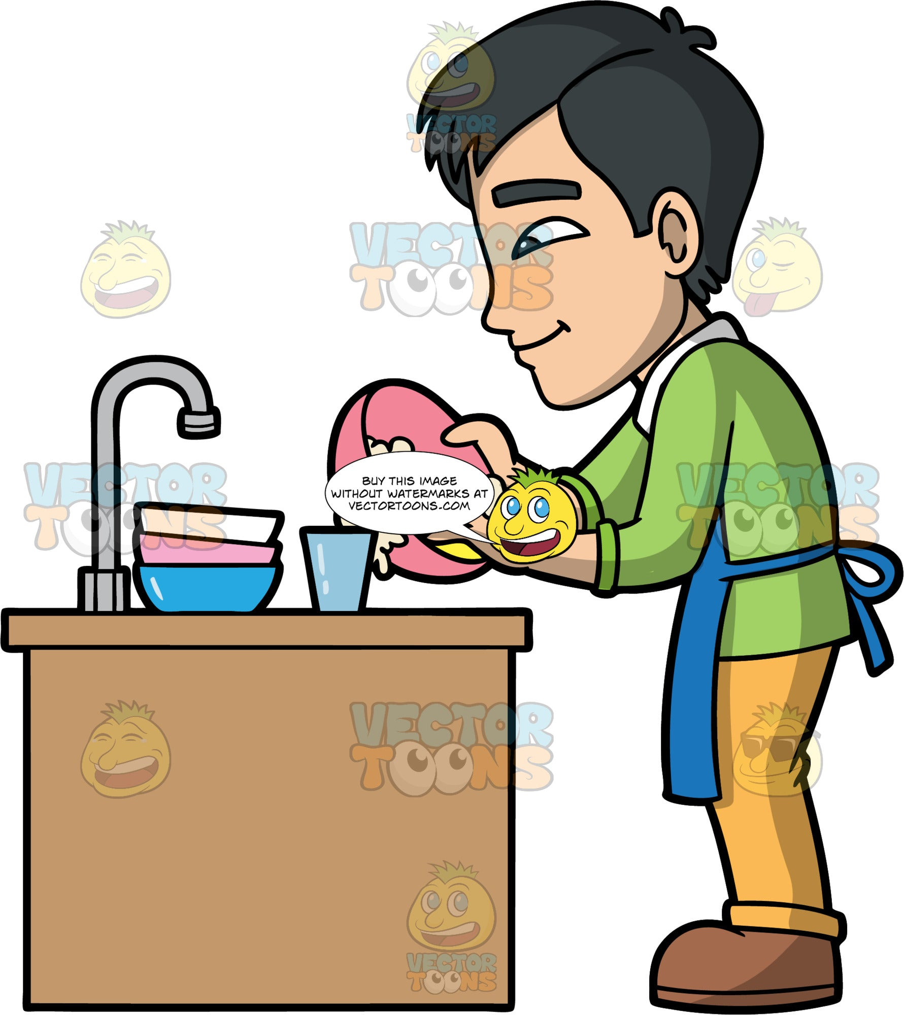 Kevin Washing A Bowl In The Sink. An Asian man wearing yellow pants, a green shirt, brown shoes, and a blue apron, washing a bowl with a soapy sponge