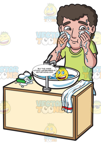 A Man Washing And Cleaning His Face With Soap And Water