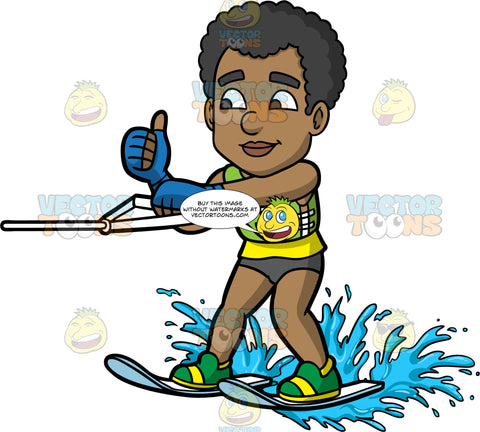 Jimmy Giving The Thumbs Up While Water Skiing. A black man wearing a dark gray bathing suit and a green life jacket, gives the thumbs up as he holds onto a handle while water skiing
