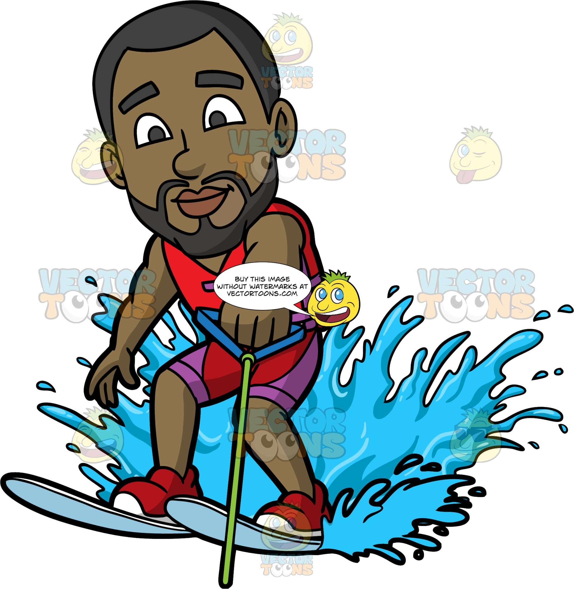 Calvin Being Pulled Behind A Boat On Water Skiis. A black man with a beard, wearing purple and red bathing shorts, and a red life jacket, holding onto a blue handle as he skims along the surface of the water on water skis