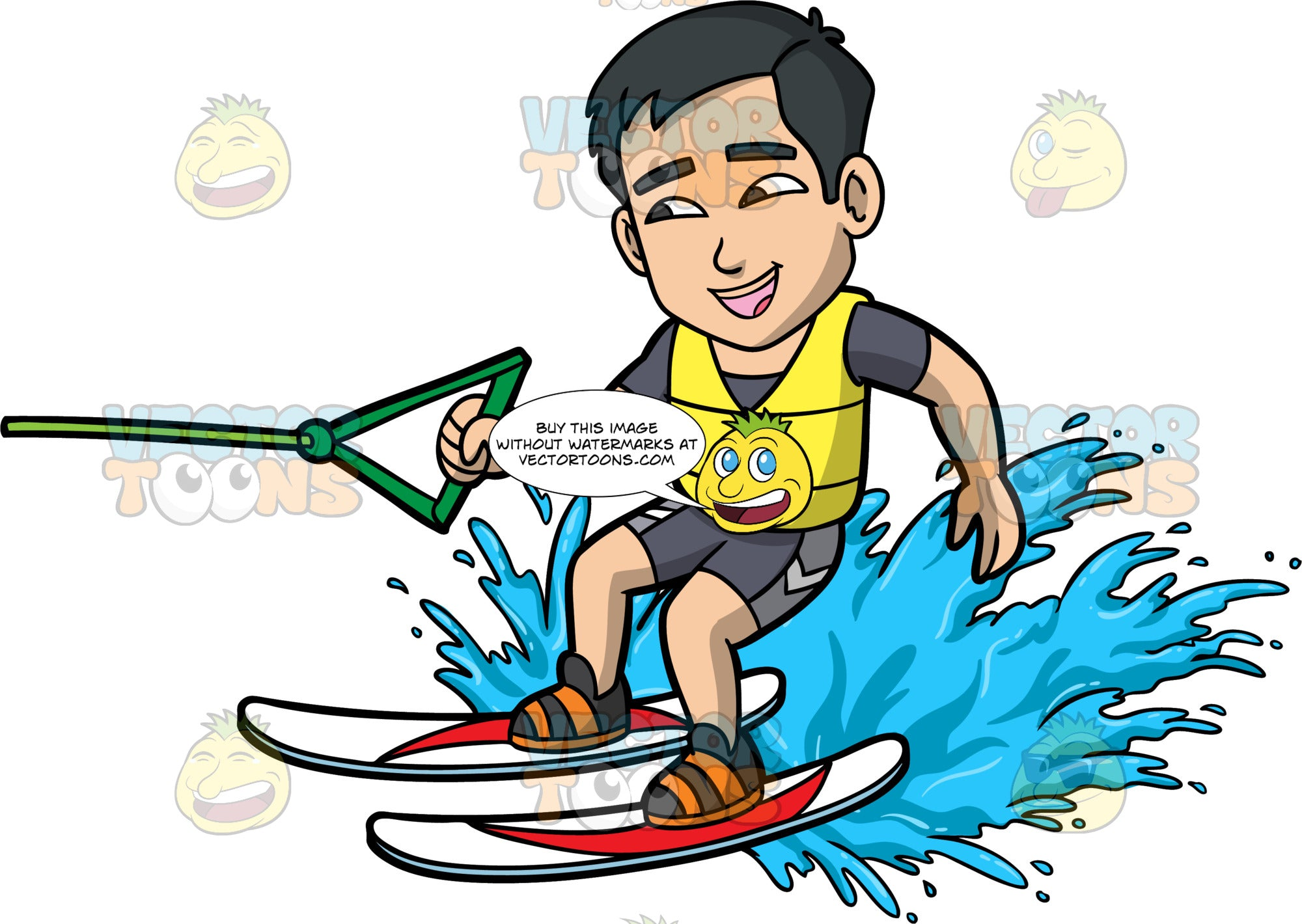 Kevin Having Fun Water Skiing. An Asian man wearing a dark gray wet suit and a yellow life jacket, holds onto a green handle as he is pulled behind a boat on his water skis