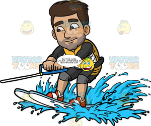 Gabriel Learning How To Water Ski. A Hispanic man wearing a dark gray wet suit with a yellow life jacket, holds onto a blue handle as he is lifted out of the water on his water skis