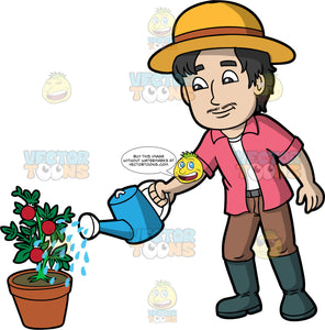 A man watering a tomato plant. A man with black hair and a thin mustache, wearing brown pants, a pink shirt over a white tank top, dark gray rubber boots, and a sun hat, uses a blue watering can to water a potted tomato plant