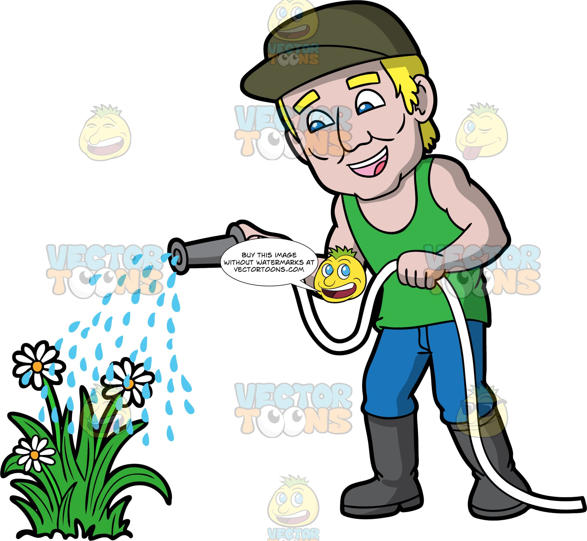 A man watering flowers. A man with blonde hair and blue eyes, wearing blue pants, a green tank top, gray rubber boots, and a baseball cap, using a hose to water some white flowers