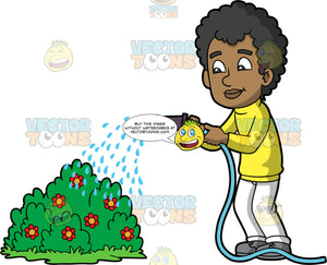 A black man watering a flowering bush. A black man wearing white pants, a yellow long sleeve shirt, and gray shirt, uses a hose to water a flowering bush