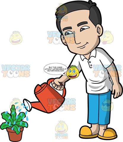 A man watering a potted plant. A man with black hair, wearing blue pants, a white shirt, and yellow shoes, uses a red watering can to water a leafy green potted plant
