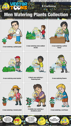Men Watering Plants Collection