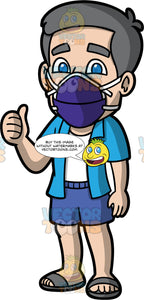 Bob Wearing A Dark Purple Face Mask. A mature man wearing blue shorts, a blue shirt over a white tank top, gray sandals, a dark purple face mask, standing and giving the thumbs up