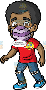 Jimmy Wearing A Purple Face Mask. A black man wearing ripped blue jeans, a red t-shirt, blue shoes, and a two tone purple face mask, walking down the street