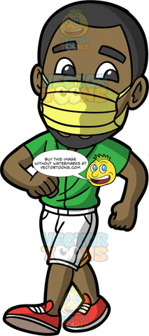 Calvin Wearing A Yellow Face Mask. A black man wearing white shorts, a green shirt, red shoes, and a yellow face mask, out on a walk