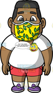 James Wearing A Yellow And Green Face Mask. A chubby black man wearing red shorts, a white t-shirt, purple shoes, and a yellow face mask with green leaves on it, standing with his arms at his sides