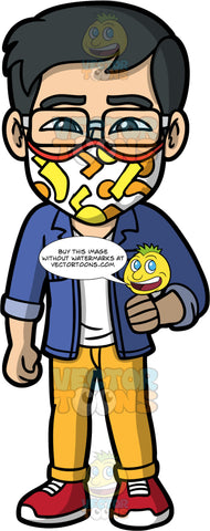 Simon Wearing A Colourful Face Mask. An Asian man wearing yellow pants, a blue shirt over a white t-shirt, red shoes, eyeglasses, and a white face mask with orange and yellow patterns on it, standing with one hand on his hip