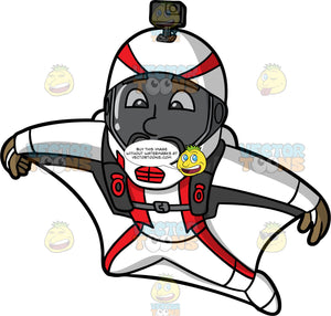 Calving Flying In A Wingsuit. A black man with a beard, wearing a white with red full face helmet, spreads his arms and legs out as he flies through the air in a white and red wingsuit