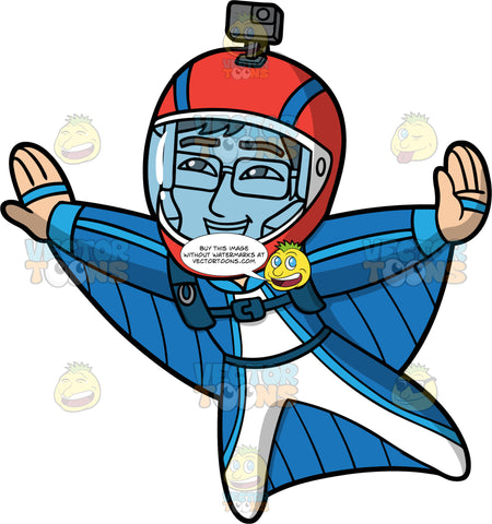 Simon Having Fun Wingsuit Flying. An Asian man wearing a blue with white wingsuit, a red full face helmet with a camera attached to it, and eyeglasses, smiles as he flies through the sky in a wingsuit