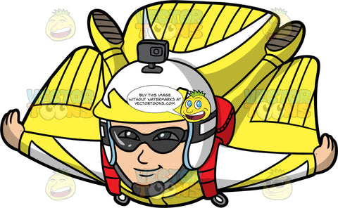 Kevin Flying Through The Sky In A Wingsuit. An Asian man wearing a yellow with white wingsuit, a white and yellow helmet, and protective goggles, flying through the sky with his arms and legs spread out