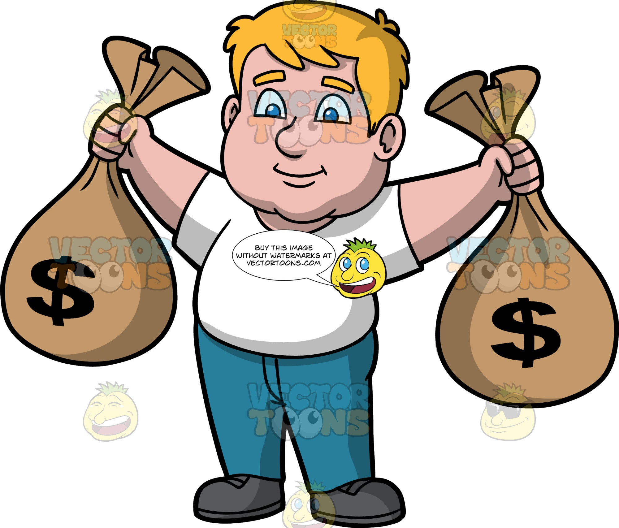 Sam Holding Bags Of Cash. A chubby man wearing blue jeans, a white t-shirt, and dark gray shoes, standing and holding a big bag of money in each hand