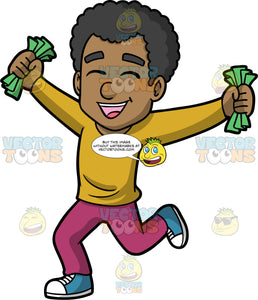 Jimmy Holding Fists Full Of Cash. A black man wearing plum coloured pants, a mustard yellow shirt, and blue and white sneakers, smiling and holding a bunch of cash in both hands