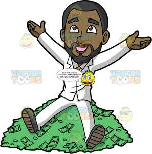 Calvin Sitting On Top Of A Pile Of Money. A black businessman wearing a white suit, a gray shirt, a yellow tie, and gray shoes, sitting on top of a big pile of cash as he smiles and holds both arms up in the air