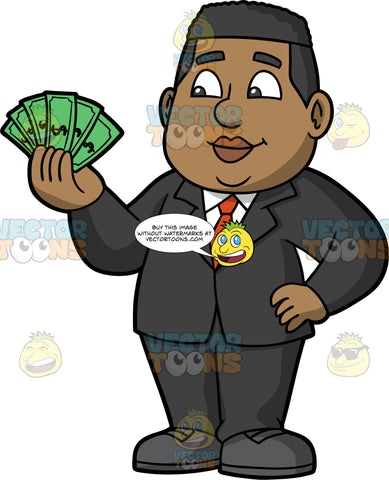 James Holding Cash In His Hand. A black businessman wearing a dark gray suit, white shirt, red tie, and gray shoes, standing with one hand on his hip, and a bunch of cash in the other hand