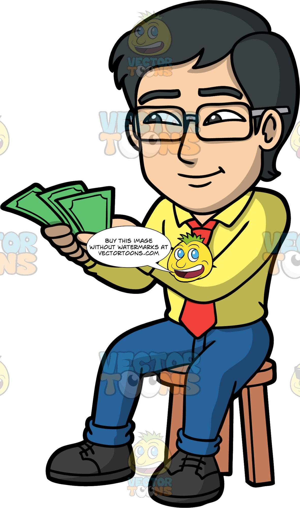 Simon Counting Cash In His Hands. An Asian man wearing dark blue pants, a yellow dress shirt, a red tie, and black shoes, sitting on a stool and counting the money he is holding