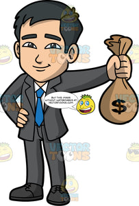 Kevin Holding A Bag Of Money. An Asian businessman wearing a dark gray suit, a white shirt, a blue tie, and black shoes, standing and holding a bag of cash