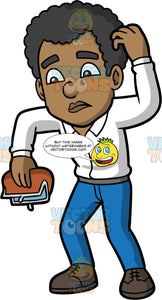 Jimmy Turning An Empty Coin Purse Upside Down. A black man wearing blue pants, a white shirt, and dark gray shoes, scratches his head as he holds an empty coin purse