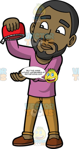 Calvin Holding An Empty Coin Purse Upside Down. A black man with a beard, wearing camel coloured pants, a pink shirt, and brown shoes, holding a coin purse upside down hoping to find some money inside