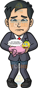 Kevin Holding An Empty Piggy Bank. An Asian businessman wearing a dark gray suit, a white shirt, a red tie, and black shoes, sad that his piggy bank is empty