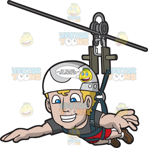 A Delighted Ziplining Man