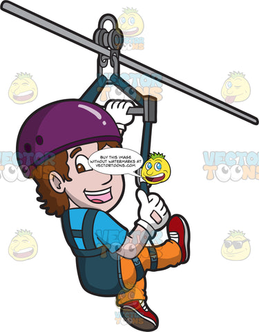 A Happy Ziplining Man
