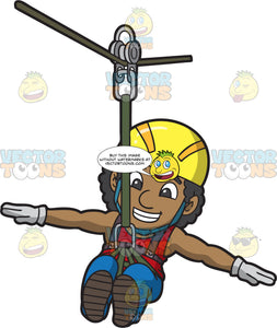A Black Man Ziplining