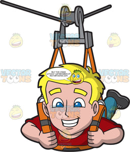 An Excited Ziplining Guy