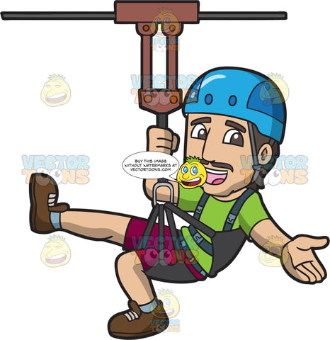 A Dad Ziplining For Fun
