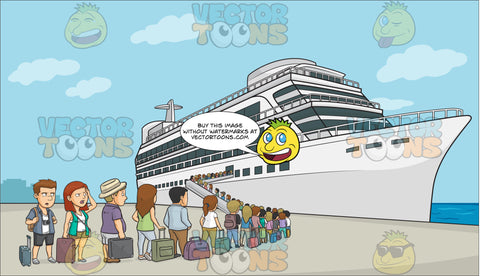 A Line Of Cruise Tourists Waiting To Board The Ship